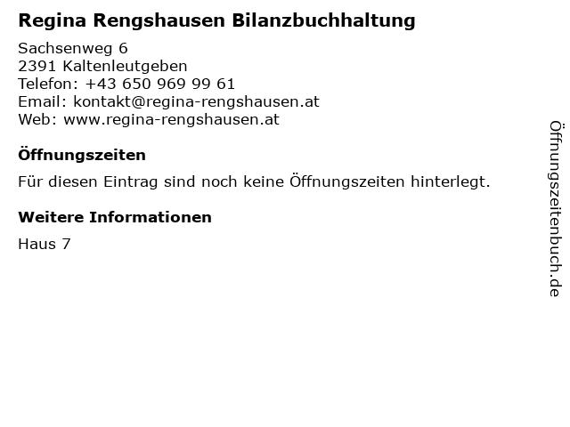 Regina Rengshausen Bilanzbuchhaltung in Kaltenleutgeben: Adresse und Öffnungszeiten