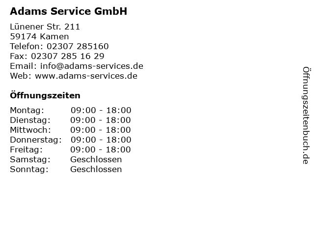 Adams Service GmbH in Kamen: Adresse und Öffnungszeiten