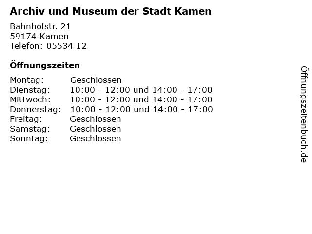 Archiv und Museum der Stadt Kamen in Kamen: Adresse und Öffnungszeiten