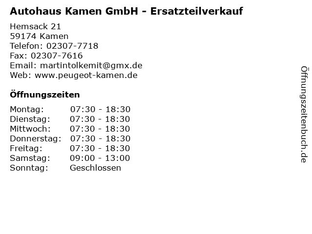 Autohaus Kamen GmbH - Ersatzteilverkauf in Kamen: Adresse und Öffnungszeiten