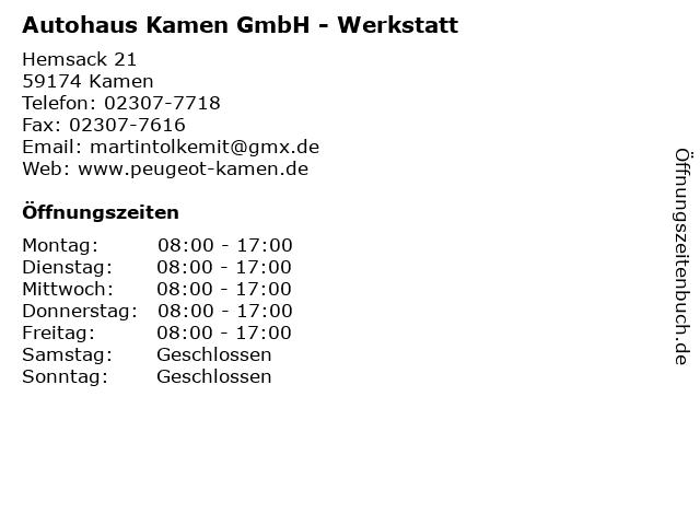 Autohaus Kamen GmbH - Werkstatt in Kamen: Adresse und Öffnungszeiten