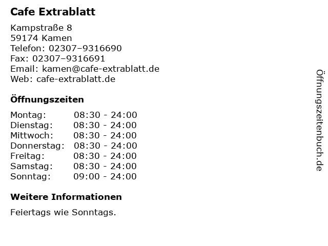Cafe Extrablatt in Kamen: Adresse und Öffnungszeiten