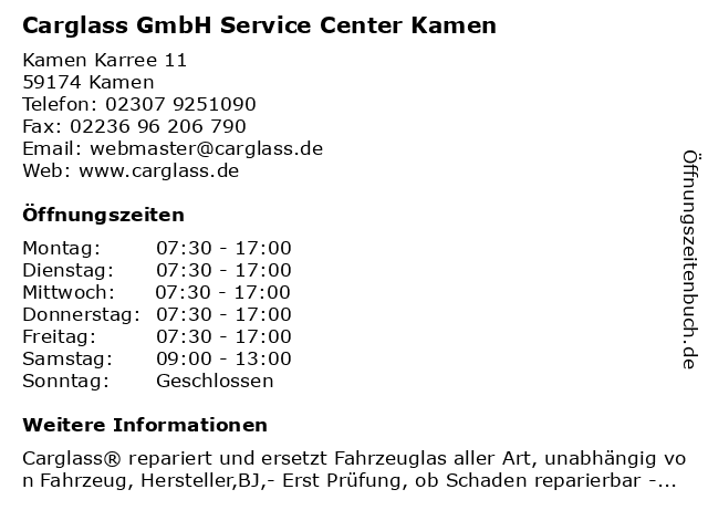 Carglass GmbH Service Center Kamen in Kamen: Adresse und Öffnungszeiten