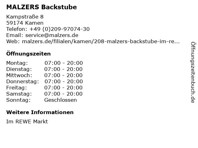 Detlef Malzers Backstube GmbH & Co. KG in Kamen: Adresse und Öffnungszeiten