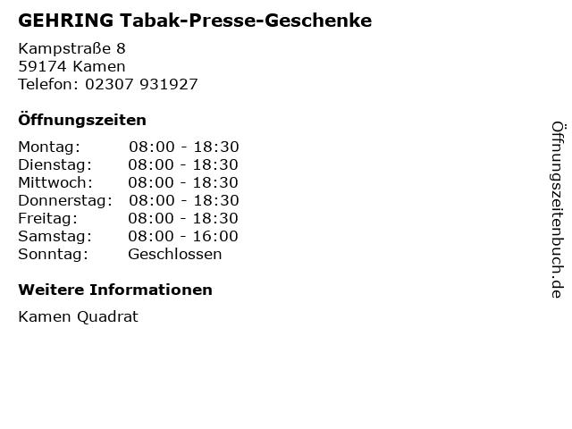 GEHRING Tabak-Presse-Geschenke in Kamen: Adresse und Öffnungszeiten