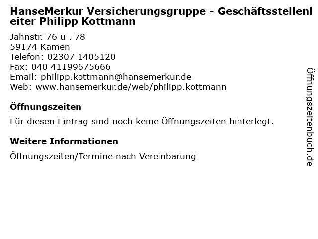 HanseMerkur Versicherungsgruppe - Geschäftsstellenleiter Philipp Kottmann in Kamen: Adresse und Öffnungszeiten