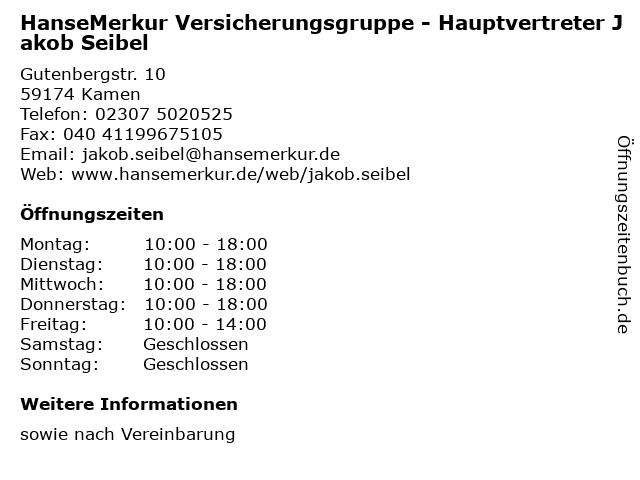 HanseMerkur Versicherungsgruppe - Hauptvertreter Jakob Seibel in Kamen: Adresse und Öffnungszeiten