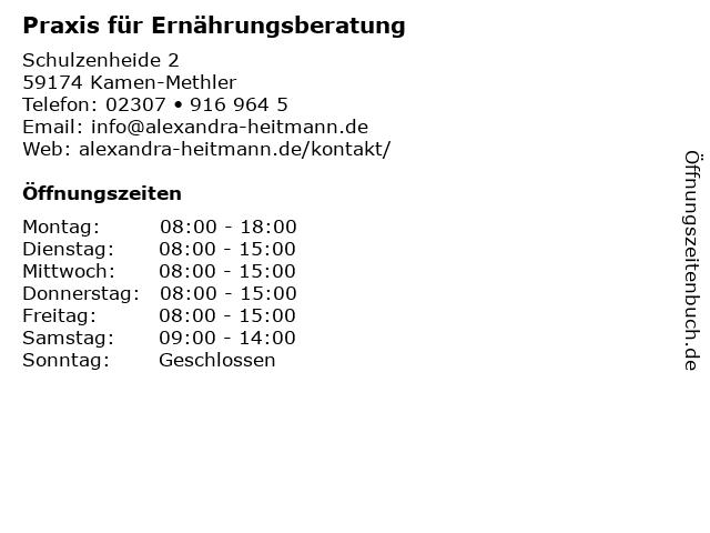 Praxis für Ernährungsberatung in Kamen-Methler: Adresse und Öffnungszeiten