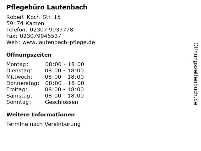 Pflegebüro Lautenbach in Kamen: Adresse und Öffnungszeiten