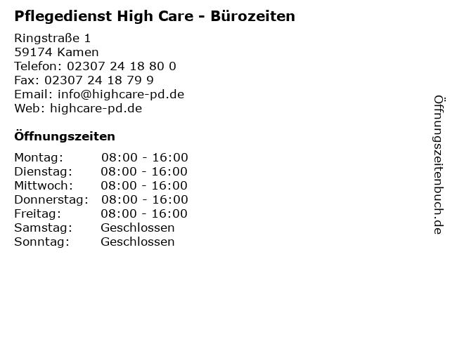 Pflegedienst High Care - Bürozeiten in Kamen: Adresse und Öffnungszeiten