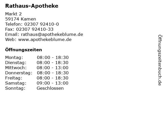 Rathaus-Apotheke in Kamen: Adresse und Öffnungszeiten