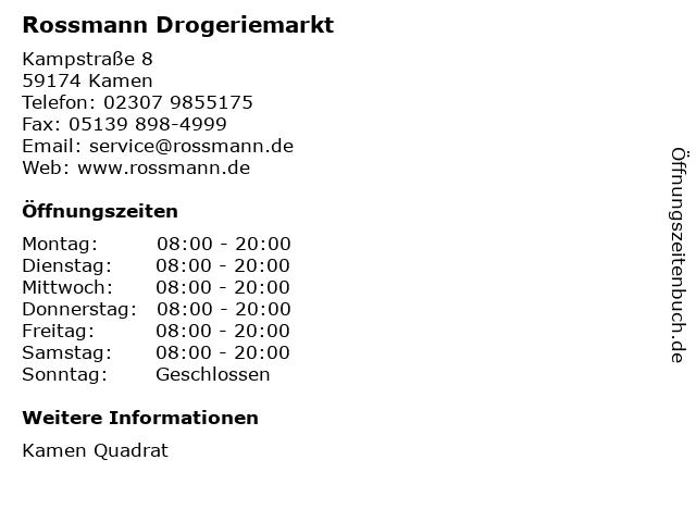 Rossmann Drogeriemarkt in Kamen: Adresse und Öffnungszeiten