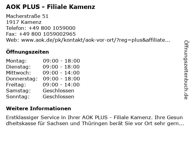 AOK PLUS - Filiale Kamenz in Kamenz: Adresse und Öffnungszeiten