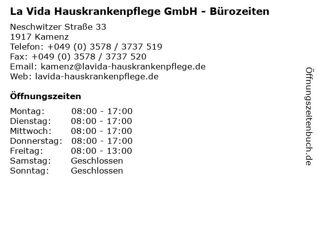 La Vida Hauskrankenpflege GmbH - Bürozeiten in Kamenz: Adresse und Öffnungszeiten