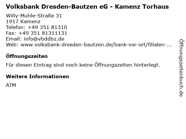 ᐅ Offnungszeiten Volksbank Dresden Bautzen Eg Kamenz Torhaus