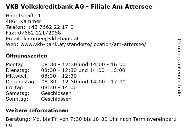 VKB Volkskreditbank AG - Filiale Am Attersee in Kammer: Adresse und Öffnungszeiten