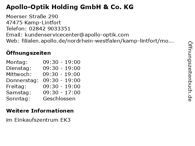 Apollo-Optik Holding GmbH & Co. KG in Kamp-Lintfort: Adresse und Öffnungszeiten