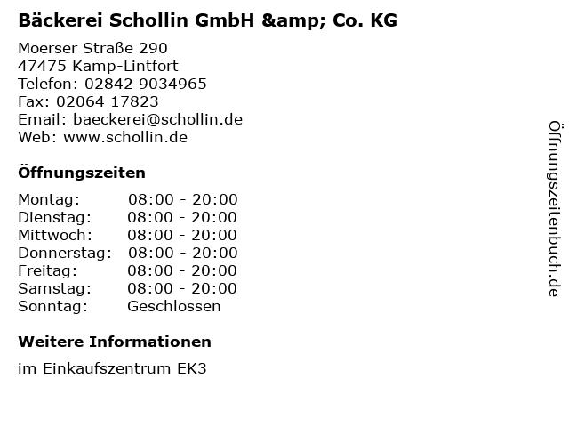 Bäckerei Schollin GmbH & Co. KG in Kamp-Lintfort: Adresse und Öffnungszeiten