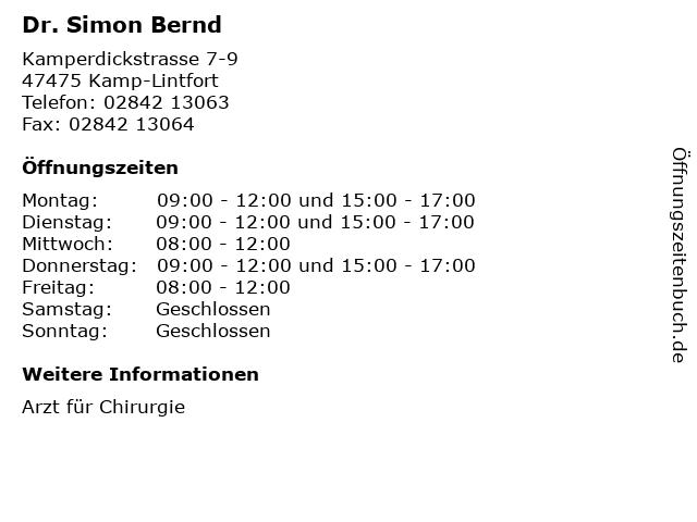 Dr. Simon Bernd in Kamp-Lintfort: Adresse und Öffnungszeiten