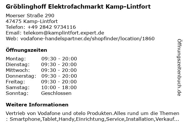 Gröblinghoff Elektrofachmarkt Kamp-Lintfort in Kamp-Lintfort: Adresse und Öffnungszeiten