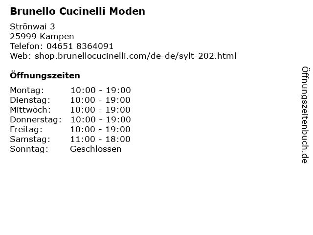 Brunello Cucinelli Moden in Kampen: Adresse und Öffnungszeiten