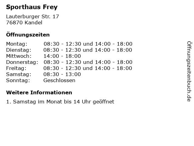 ᐅ Offnungszeiten Sporthaus Frey Lauterburger Str 17 In Kandel