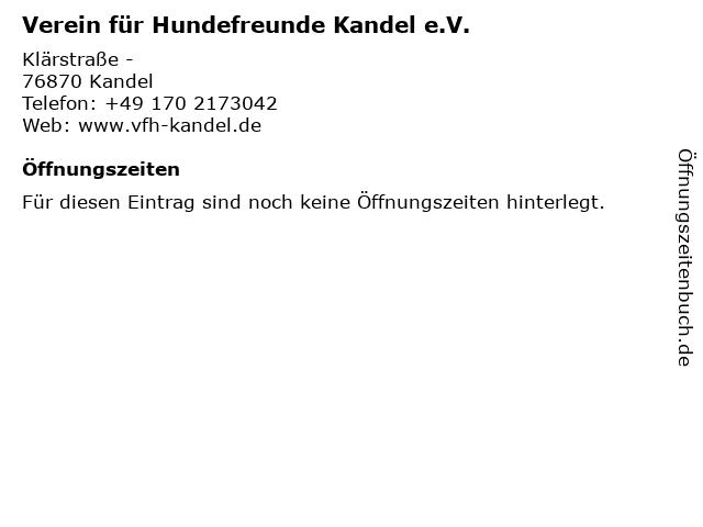 Verein für Hundefreunde Kandel e.V. in Kandel: Adresse und Öffnungszeiten