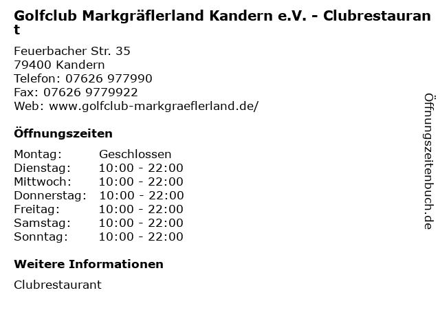 Golfclub Markgräflerland Kandern e.V. - Clubrestaurant in Kandern: Adresse und Öffnungszeiten