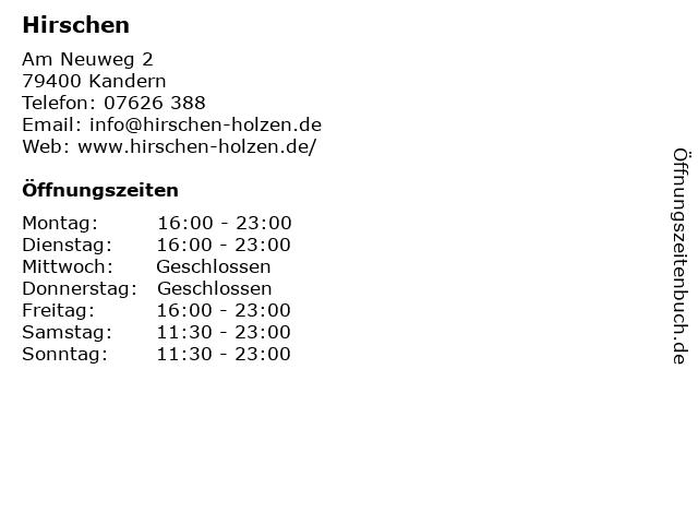 Hirschen in Kandern: Adresse und Öffnungszeiten