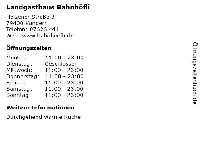Landgasthaus Bahnhöfli in Kandern: Adresse und Öffnungszeiten