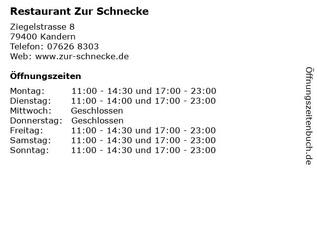 Restaurant Zur Schnecke in Kandern: Adresse und Öffnungszeiten