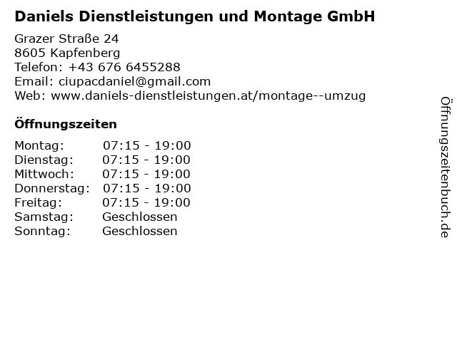 Daniels Dienstleistungen und Montage GmbH in Kapfenberg: Adresse und Öffnungszeiten