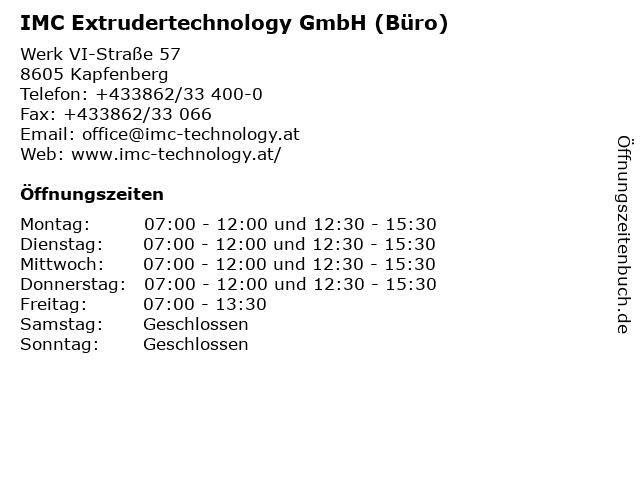 IMC Extrudertechnology GmbH (Büro) in Kapfenberg: Adresse und Öffnungszeiten