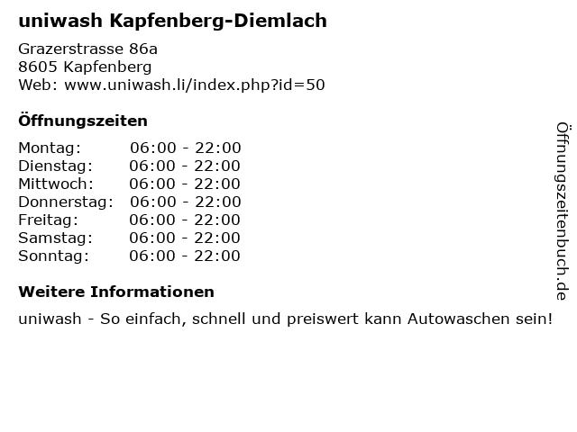 ᐅ öffnungszeiten Uniwash Kapfenberg Diemlach Grazerstrasse 86a