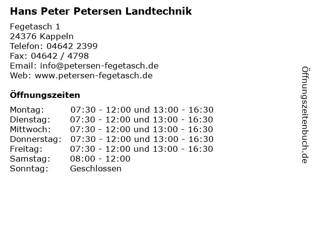 Hans Peter Petersen Landtechnik in Kappeln: Adresse und Öffnungszeiten