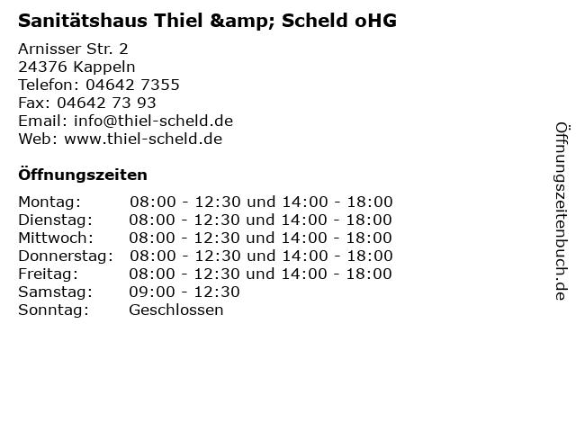 Sanitätshaus Thiel & Scheld oHG in Kappeln: Adresse und Öffnungszeiten