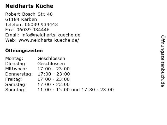 Neidharts Küche Karben | ᐅ Offnungszeiten Neidharts Kuche Robert Bosch Str 48 In Karben