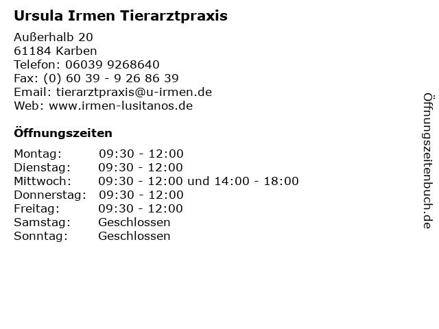 Ursula Irmen Tierarztpraxis in Karben: Adresse und Öffnungszeiten