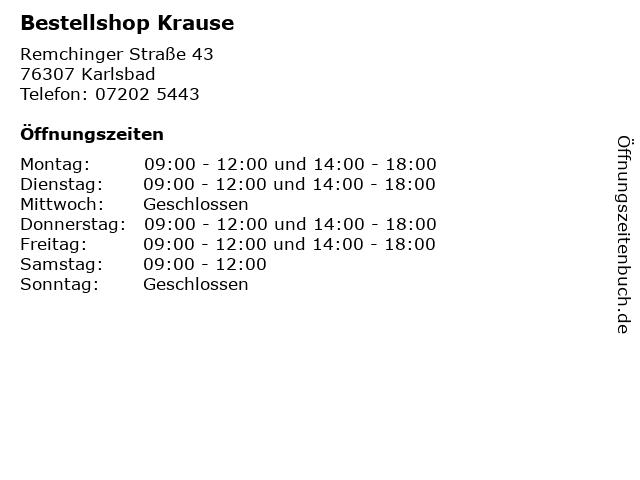 Bestellshop Krause in Karlsbad: Adresse und Öffnungszeiten