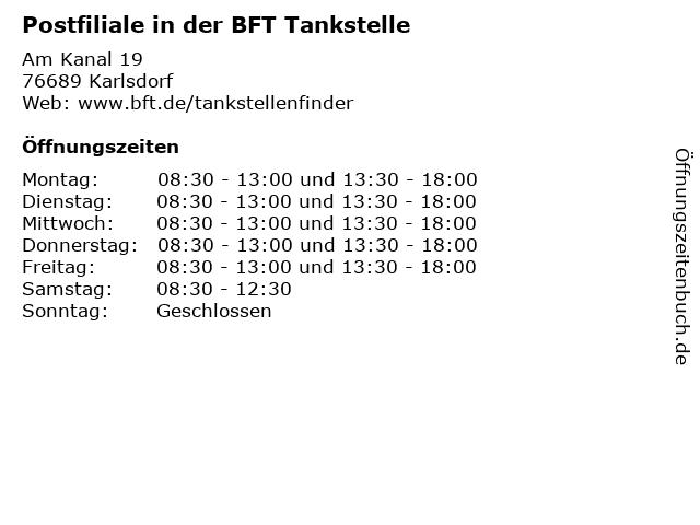 Postfiliale in der BFT Tankstelle in Karlsdorf: Adresse und Öffnungszeiten