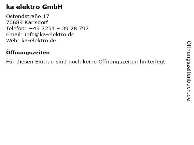 ka elektro GmbH in Karlsdorf: Adresse und Öffnungszeiten