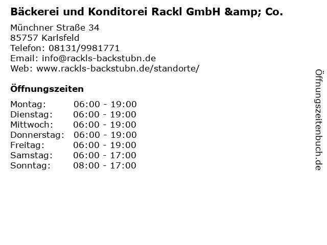 Bäckerei und Konditorei Rackl GmbH & Co. in Karlsfeld: Adresse und Öffnungszeiten