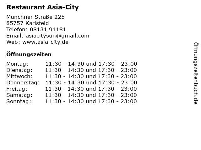 Restaurant Asia-City in Karlsfeld: Adresse und Öffnungszeiten
