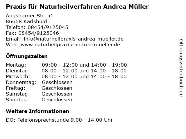 Praxis für Naturheilverfahren Andrea Müller in Karlshuld: Adresse und Öffnungszeiten