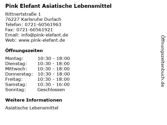 Pink Elefant Asiatische Lebensmittel in Karlsruhe Durlach: Adresse und Öffnungszeiten