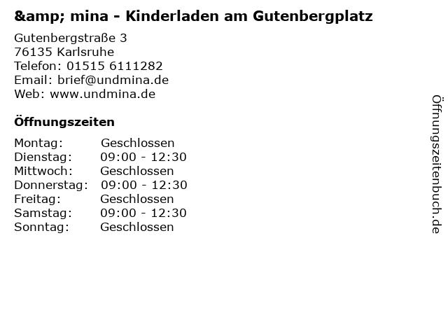 & mina - Kinderladen am Gutenbergplatz in Karlsruhe: Adresse und Öffnungszeiten