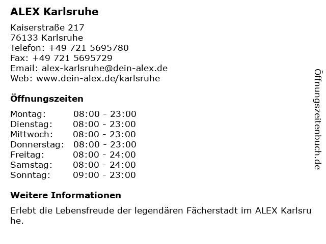 ALEX Karlsruhe in Karlsruhe: Adresse und Öffnungszeiten