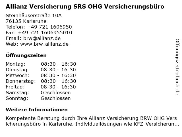 Allianz Versicherung SRS OHG Versicherungsbüro in Karlsruhe: Adresse und Öffnungszeiten