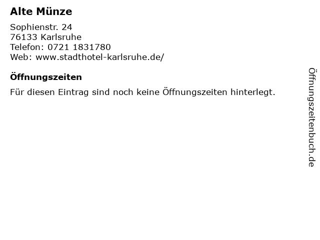 ᐅ öffnungszeiten Alte Münze Sophienstr 24 In Karlsruhe