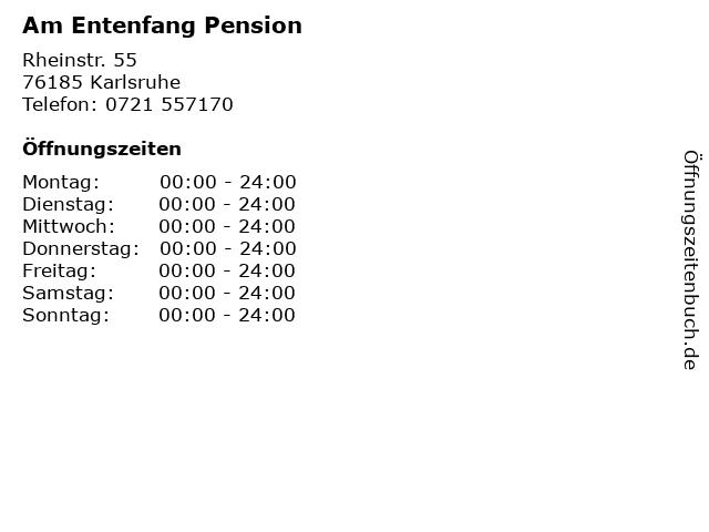 Am Entenfang Pension in Karlsruhe: Adresse und Öffnungszeiten